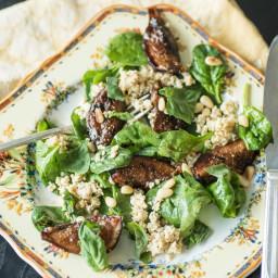 Charred Fig and Spinach Salad With Lemon Tofu Feta
