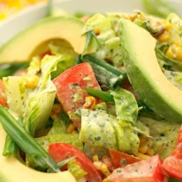 Charred Corn and Avocado Salad with Tangy Green Goddess Dressing