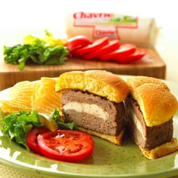 Chavrie Goat Cheese Stuffed Turkey Burgers