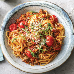 Cheat's Lentil & Cherry Tomato Bolognese with Flaked Parmesan Cheese