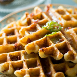 Cheddar Cheese Waffles and Savory Syrup