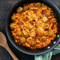 Cheddar Meatball and Pasta Skillet