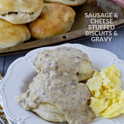 Cheese and Sausage Stuffed Biscuits and Gravy