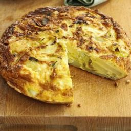 Cheese, leek and potato tortilla