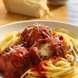Cheese-Stuffed Meatballs and Spaghetti