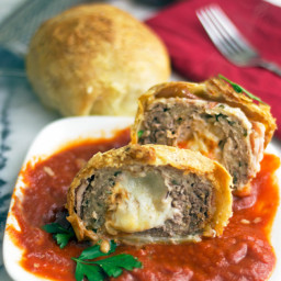 Cheese Stuffed Meatballs Wrapped in Bacon and Pastry Dough