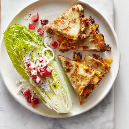 Cheeseburger Quesadillas With Romaine Wedge Salad