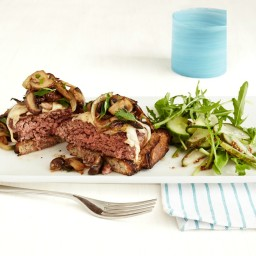 Cheeseburgers with Sauteed Mushrooms and Pickle Salad