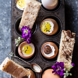 Cheesecake Eggs with Shortbread Soldiers.