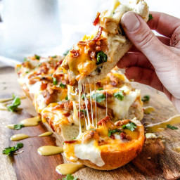 Cheesy Alice Springs Chicken French Bread Pizza