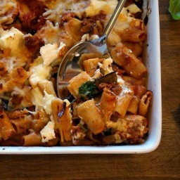 Cheesy Baked Rigatoni with Roasted Eggplant and Greens
