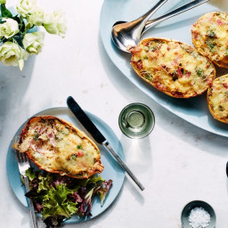 Cheesy Baked Spaghetti Squash Boats With Salami, Sundried Tomatoes, and Spi