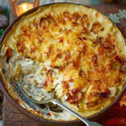 Cheesy celeriac, leek and rosemary gratin