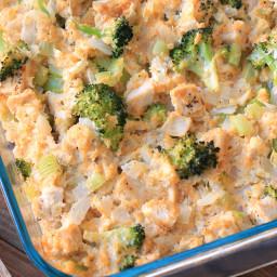 Cheesy Chicken Broccoli and Cauliflower Rice Casserole