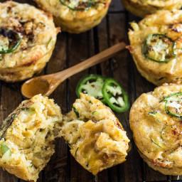 Cheesy Chili Zucchini Cornbread Muffins