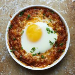 Cheesy Chorizo & Spaghetti Squash Egg Bake