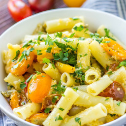 Cheesy Pasta With Tomatoes And Capers