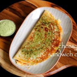 cheesy sandwich dosa recipe   sandwich uttapam recipe