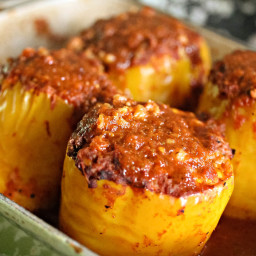 Cheesy Stuffed Mexican Peppers With Red Chili Sauce Recipe