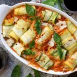 Cheesy White Pesto Zuchini Involtini with Pink Alfredo Sauce