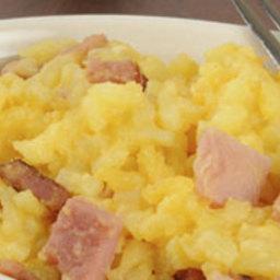Cheesy Yukon Gold Potato, Ham and Egg Bake
