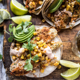 Cheesy Zucchini Roasted Corn Tacos With Mango Salsa Verde