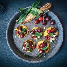 Cherry and Mint Polenta Bruschetta