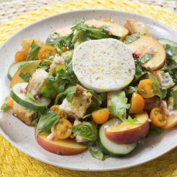 Cherry Tomato and Peach Panzanellawith Fresh Mozzarella, Arugula and Basil