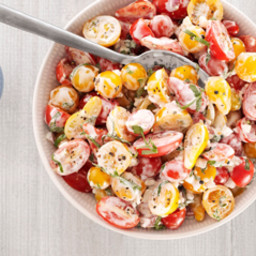 Cherry Tomato Salad with Buttermilk Basil Dressing