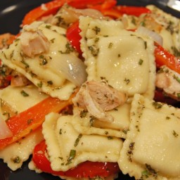 Ravioli and Chicken with Red Peppers and Pesto