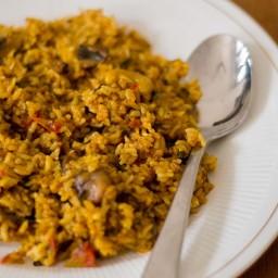 Chettinad Style Spicy Mushroom Biryani - Pressure Cooker Method