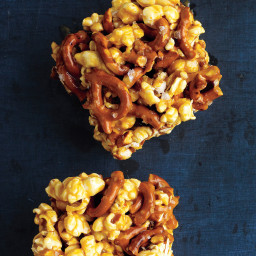 Chewy Caramel Popcorn and Pretzel Bars