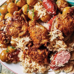 Chicken and Bacon Choucroute with Potato Salad