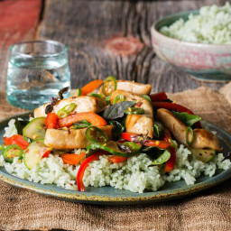 Chicken and basil stir-fry with jade rice