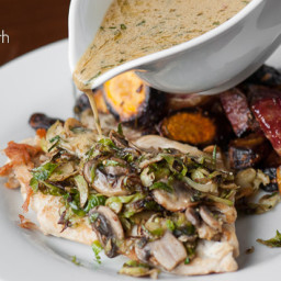 Chicken and Brussel Sprouts with Mustard Sauce