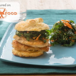 Chicken and Buttermilk Biscuit Sandwicheswith Shredded Collard Green and Ca