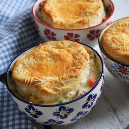 Chicken and Cheddar Biscuit Pot Pies