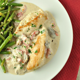 Chicken and Mushrooms with Roasted Red Pepper Alfredo Sauce - Low Carb, Glu