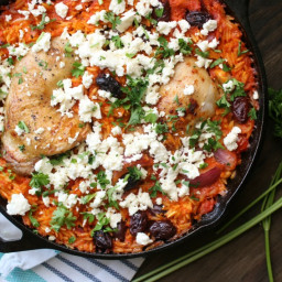 Chicken and Orzo Skillet Bake in Red Pepper Sauce