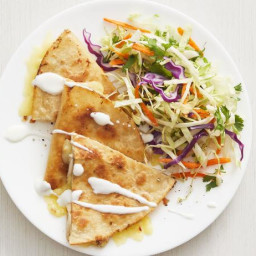 Chicken and Pepper Jack Quesadillas with Cilantro Slaw