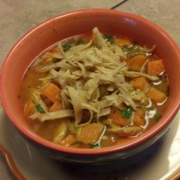 Chicken and Sweet Potatoe Soup with Chile and Lime
