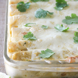 Chicken, Black Bean and Zucchini Enchiladas with Creamy Green Chile Sauce