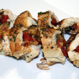 Chicken Breasts Stuffed with Asiago Cheese, Tomatoes and Roasted Red Pepper