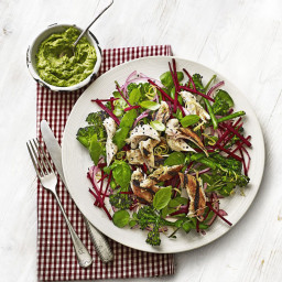 Chicken, broccoli and beetroot salad with avocado pesto