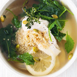 Chicken broth with kale, quinoa and preserved lemon