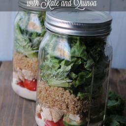 Chicken Caesar Mason Jar Salad with Kale and Quinoa