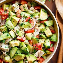 Chicken Cucumber Avocado Salad (NO COOK)