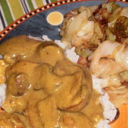 Chicken Curry with Garlic Cabbage