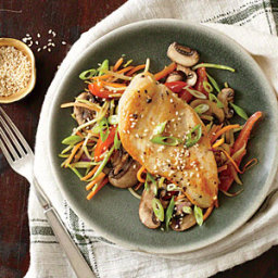 Chicken Cutlets with Sesame Broccoli Slaw