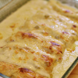 Chicken Enchiladas with Green Chili Sour Cream Sauce